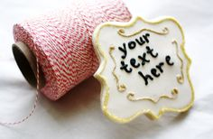 Customizable scroll frame cookies by Sugar Lane Bake Shop