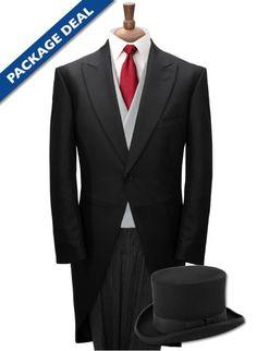 96c8aaa6ef13 100% Wool Herringbone Morning Suit, Top Hat, Waistcoat, Dress Shirt & Tie