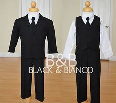 Boy Tuxedo 5 Piece Suit Tie Wedding Special Occasion Outfit Size 2 3 4 5 6 7 | eBay