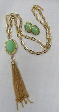 Gold Plated Long 30 Inch Mint Green Stone Tassle Charm Necklace Set #91123 New