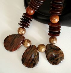 ASHIRA Horn Wood and Jasper Necklace with Vintage by AshiraJewelry, $57.00
