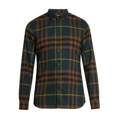 Burberry House-check cotton-twill shirt ($270) ❤ liked on Polyvore featuring men's fashion, men's clothing, men's shirts, men's casual shirts, multi, old navy mens shirts, burberry mens shirts, mens navy blue shirt, mens slim fit casual shirts and mens slim fit shirts