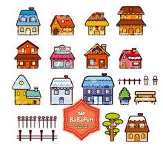 Clipart numérique mignon Villas---Personnelle et petite utilisation commerciale. BP 0017