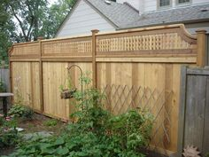 solid fence with lattice top