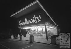 Exterior view of Gino's night lights, Gino Marchetti in Towson. From the Baltimore Museum of Industry.