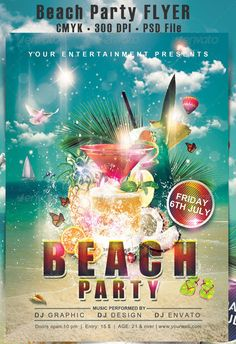 Beach Party flyer on BehanceYou can find Party flyer and more on our website.Beach Party flyer on Behance Free Psd Flyer, Free Flyer Templates, Summer Beach Party, Beach Fun, Invitation Cards, Party Invitations, Invitation Templates, Free Beach, Party Poster