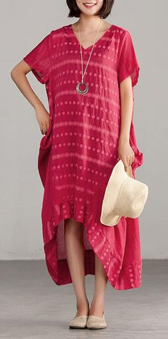 22c04ccdf59 stylish natural linen blended dress trendy plus size Casual V-neck High-low  Hem Dots Red Dress
