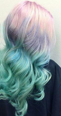 Blue pastel ombre dyed hair color @rossmichaelssalon