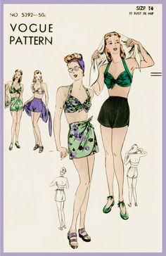 af088e86f07 vintage sewing pattern 1940s 40s vintage Vogue sewing pattern bikini bra  shorts beach swim bathing suit waist 26 w26 bust 32 b32 repro