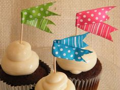 12 Cupcake Toppers- Pink Blue and Green Polka Dots and Stripes Flags- Food Picks-DIY Wedding-Entertaining-By Morrell Decor on Etsy