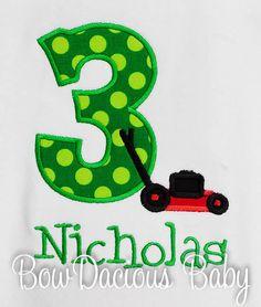 Lawn Mower Birthday Shirt Custom Colors Any Age by bowdaciousbaby