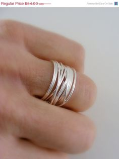 RING SALE  Ring  Silver Ring  Wide Band  por FreshJewelryDesign, $49.68