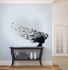 Hoofd van meisje vrouw silhouet patronen vogel Housewares muur Vinyl Decal Art Design muurschilderingen interieur Beauty Hair Spa Salon Decor Sticker SV3864 door SuperVinylDecal op Etsy https://www.etsy.com/nl/listing/161640845/hoofd-van-meisje-vrouw-silhouet-patronen