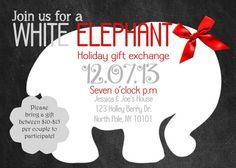 diy printable christmas party invitation - white elephant party, Party invitations