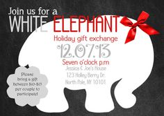 diy printable christmas party invitation - white elephant party, Party invitations
