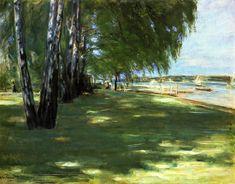 The Artist's Garden in Wannsee: Birch Trees by the Lake - Max Liebermann - 1918