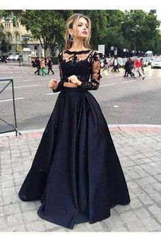 Prom Dresses Long, Party Dresses For Cheap, Prom Dresses With Sleeves, Prom Dresses 2019, Two Pieces Prom Dresses, Lace Prom Dresses #TwoPiecesPromDresses #PromDresses2019 #LacePromDresses #PromDressesWithSleeves #PromDressesLong #PartyDressesForCheap