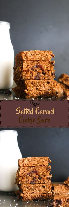 These vegan salted Carmel cookie bars are vegan, gluten free friendly, and filled with flavor. They're made with all natural ingredients, are refined sugar free, and the best dessert!