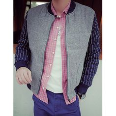 Classic Color Spliced Patch Pocket Stripes Print Stand Collar Long Sleeves Men's Slimming Jacket