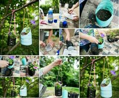 Recycling bottles with a green thumb is always good!!!