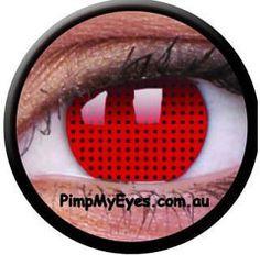 Red Screen Crazy Contact Lenses Pair - PimpMyEyes.com.au | PimpMyEyes