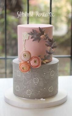 Grey Pink Ranunculus Cake by Sihirli Pastane - http://cakesdecor.com/cakes/271704-grey-pink-ranunculus-cake
