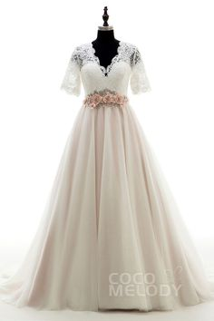 Request dress be made without the belt, fully lining the front, no lining on the back, and lengthening the sleeves to 3/4