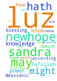 A Messianic Jewish Tefillah: -  A Messianic Jewish Tefillah The Birkat Kohanim The Priestly Blessing Scripture Refs Colossians 1915; Numbers 62426; 1 John 51415. , , , Avinu SheBaShamayim Our Father in Heaven, I go before you now in prayers and supplications for SANDRA LUZ NEWHOPE For this cause we also, since the day we heard it, do not cease to pray for SANDRA LUZ NEWHOPE and to desire that he might be filled with the knowledge of Your will in all wisdom and spiritual understanding; that…