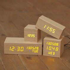 [무아스] 친환경 LED 나무 알람시계 직사각형 탁상시계/알람시계
