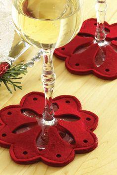 Snowflake Wine Glass Coasters - Red