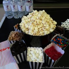 birthday party idea for man. Easy and simple birthday. 50th Birthday Party Themes, Fairy Birthday Party, Boy Birthday Parties, Kids Movie Party, Sleepover Party, Party Party, Party Games, Popcorn Bar, Popcorn Recipes