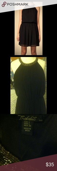 Zara Trafaluc Black Embellished Dress! You will look sexy and cute on this slinky dress!!!  Exposed shoulders with neckline beading. Zara Dresses