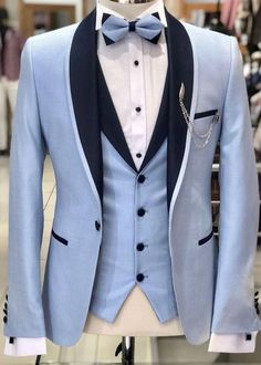 Wedding Suits Pale blue tuxedo with a black shawl collar and shawl collared vest. Indian Men Fashion, Mens Fashion Suits, Mens Suits, Trendy Suits For Men, Tuxedo Suit, Tuxedo For Men, Black Tuxedo, Terno Slim Fit, Blue Tuxedos