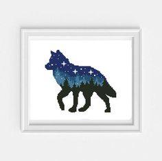 Animal set cross stitch bear deer Wolf mountains star sky