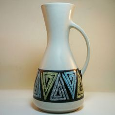 West German Pottery VASE FAT LAVA Mid Century - D & B - DÜMLER & BREIDEN