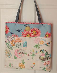 Vintage Embroidery and Feedsack Patchwork Tote