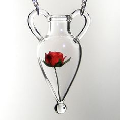 Hand Blown Glass Glass Amphora Pendant with Paper Rose