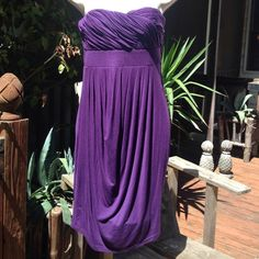 "MM Couture Miss Me purple strapless jersey dress Deep eggplant purple, rouching on the best and beautifully draped. Super soft rayon jersey with 5% spandex, side ribbing and size zipper. ~14"" across the top, 27"" in length. MM Couture Dresses Strapless"