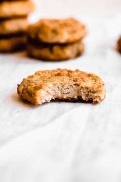 Banana bread cookies are a delicious and healthy treat the whole family will enjoy. TThey are gluten free, vegan, paleo, and full of banana flavor - with just a hint of cinnamon. You'll love this easy banana cookie recipe! Banana Cookie Recipe, Banana Bread Cookies, Paleo Banana Bread, Banana Bread Recipes, Cookie Recipes, Dessert Recipes, Paleo Dessert, Cookies Gluten Free, Cooking Cookies