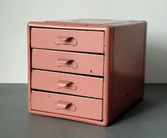 Vintage Small Parts Metal Storage Box  Pink by TheBountifulBird