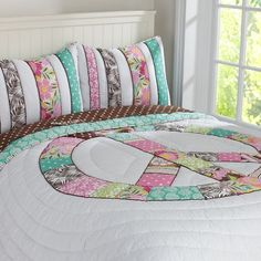 Peace Patchwork Quilt & Sham.  This would be perfect with the colors in O's room.