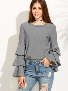 Black Striped Layered Bell Sleeve Blouse — 0.00 € ---------------color: Black size: L,M,S,XS