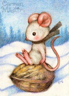 Sledding on a Walnut - cute winter mouse art by Carmen Medlin