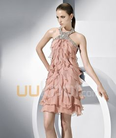 Halter Short Tulle Prom Dress - UUknot.com