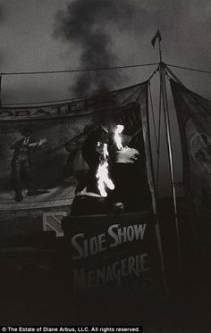 This image of a fire eater at a carnival was taken in Palisades Park, N.J. in 1957