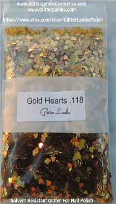 Solvent Resistant Glitter For Nail Polish Gold Holographic Hearts .118 Glitter Supplier In United States Glitter Lambs Cosmetics