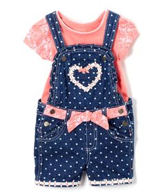 Take a look at this Coral Tee & Blue Dot Shortalls - Infant, Toddler & Girls today!