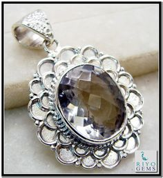 Crystal Quartz Silver Pendant Gemstone Jewelry 925 Sterling Silver Jewelry by Riyo Gems Handmade Jewellery http://www.riyogems.com
