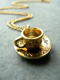 gold tea cup charm necklace