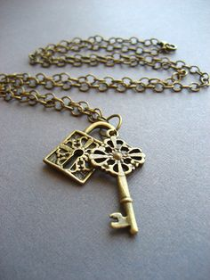 Antique Bronze Lock and Key Necklace